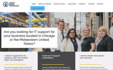 Screenshot of Home Page simplysmarttech.com - IT Support, Managed Services, Simply Smart Technology - captured Nov. 5, 2017