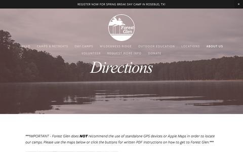 Screenshot of Maps & Directions Page forestglen.org - Directions — Forest Glen - captured Feb. 17, 2018