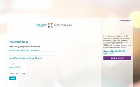Baptist Health MyChart - Password Reset Page