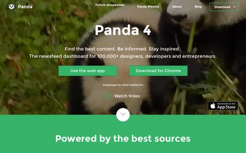 Screenshot of Home Page usepanda.com - Panda - Daily News and Inspiration - captured Oct. 1, 2015