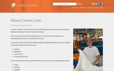 Screenshot of About Page crownlinen.net - About Crown Linen Commercial Laundry Service in Florida - captured Sept. 29, 2018