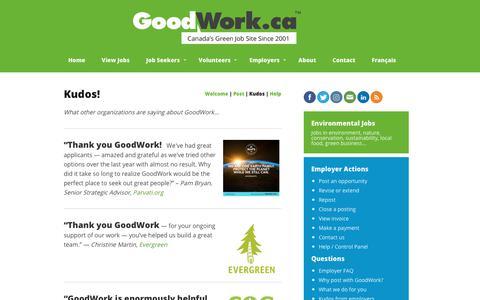 Screenshot of Testimonials Page goodwork.ca - GoodWork.ca: green, environmental job postings - captured Sept. 29, 2018