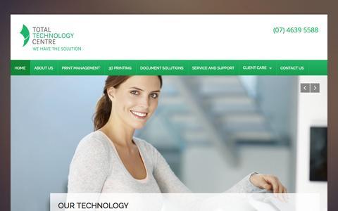 Screenshot of Home Page ttc.net.au - Photocopiers Toowoomba, Photocopy Suppliers Toowoomba - captured Aug. 17, 2015