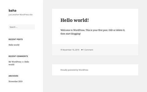 Screenshot of Blog replyall.me - baha | Just another WordPress site - captured Nov. 14, 2019