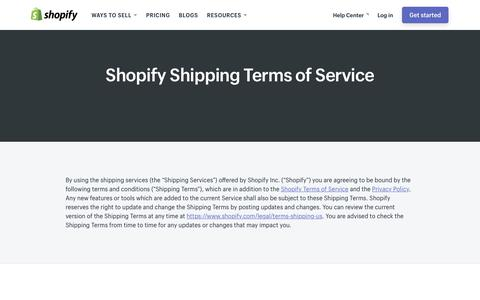 Screenshot of Terms Page shopify.com - Shopify Shipping Terms of Service - captured Dec. 5, 2017
