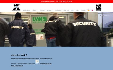 Screenshot of Jobs Page aua-sicherheit.de - Jobs bei A & A Sicherheit und Service ® - captured Jan. 28, 2018