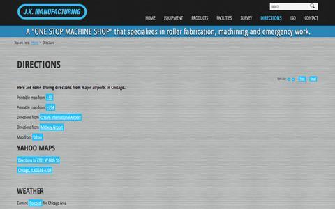 Screenshot of Maps & Directions Page jkmfg.com - Directions - J.K. Manufacturing - captured Oct. 4, 2014