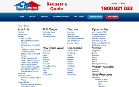 Screenshot of Site Map Page theshedcompany.com.au - THE Shed Company Sitemap - Links to THE Shed Company Franchisee locations, local distributors, our suppliers and services TSC provide - captured Oct. 9, 2014