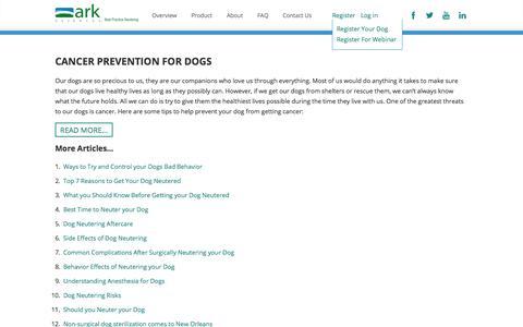 Screenshot of Press Page arksciences.com - Dog Neutering News and Info - Ark Sciences - captured Nov. 2, 2014