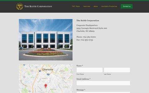 Screenshot of Contact Page thekeithcorp.com - Contact us — The Keith Corporation - captured Aug. 14, 2016