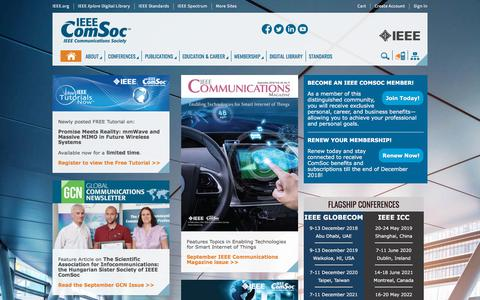Screenshot of Home Page comsoc.org - IEEE Communications Society | IEEE ComSoc - captured Sept. 23, 2018
