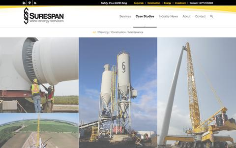 Screenshot of Case Studies Page surespanwind.com - Case Studies - Surespan Wind - captured Oct. 7, 2014