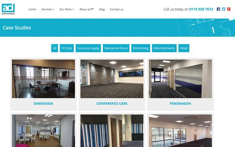 Screenshot of Case Studies Page aci.uk.net - Commercial Interior Case Studies from aci™ - captured May 31, 2017
