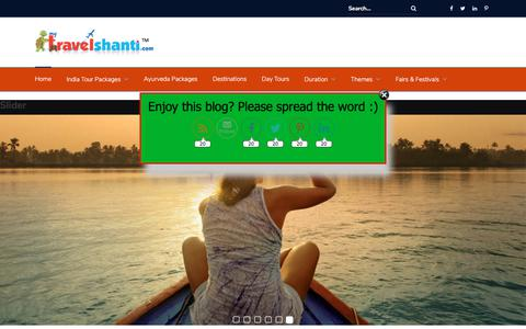 Screenshot of Home Page mytravelshanti.com - Mytravelshanti tours   India Holiday Tour Packages   Kerala Tours - captured Nov. 21, 2017