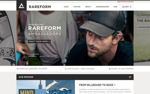 Screenshot of Home Page rareform.com - Surfboard Bags, SUP Bags & Stand-up Paddle Bags | Rareform - captured Sept. 17, 2014