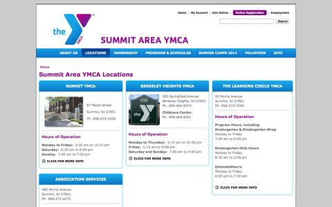 Screenshot of Locations Page thesay.org - The Summit Area YMCA - captured Oct. 6, 2014