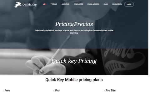 Screenshot of Pricing Page quickkeyapp.com - Pricing | Quick Key - captured Sept. 27, 2015