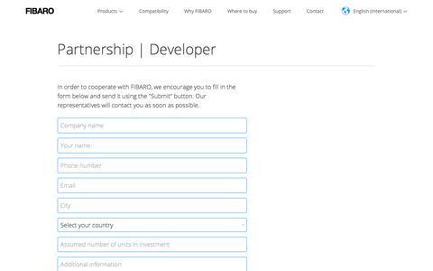 Screenshot of Developers Page fibaro.com - Parnership - Developer   FIBARO - captured May 9, 2018