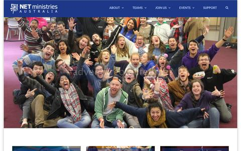 Screenshot of Home Page netministries.com.au - NET Ministries | Encouraging young people to love Jesus and embrace the church - captured Feb. 14, 2016