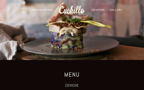 Screenshot of Home Page cuchillo.ca - Cuchillo - captured Sept. 20, 2015
