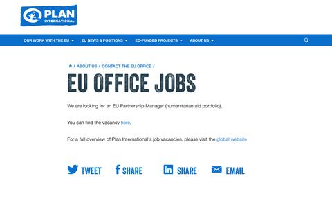 Screenshot of Jobs Page plan-international.org - EU Office Jobs | Plan International - captured Oct. 21, 2018