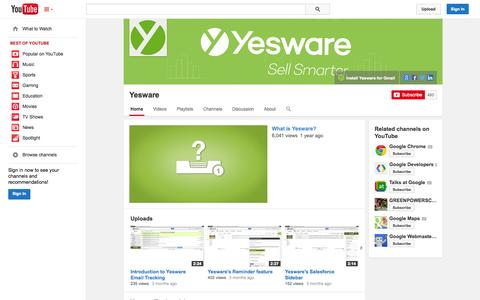 Screenshot of YouTube Page youtube.com - Yesware  - YouTube - captured Oct. 22, 2014