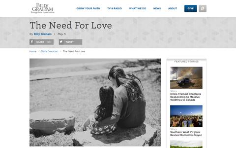 Screenshot of billygraham.org - The Need For Love - captured May 5, 2016