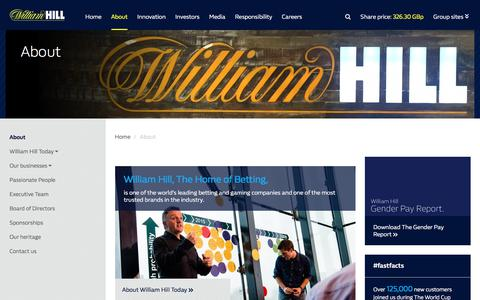 Screenshot of About Page williamhillplc.com - William Hill Plc: About - captured April 10, 2018