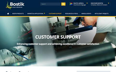 Screenshot of Contact Page Support Page bostik.com - Customer Support | Bostik South Africa - captured Feb. 26, 2018