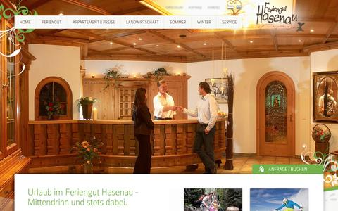 Screenshot of Press Page hasenau.at - Home - Feriengut Hasenau - captured June 8, 2016