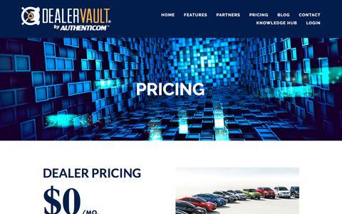 Screenshot of Pricing Page dealervault.com - Pricing — DealerVault - captured Aug. 6, 2018