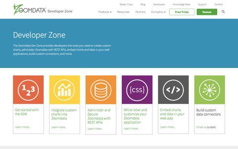 Screenshot of Developers Page zoomdata.com - Developer Zone   Zoomdata - captured Oct. 20, 2017