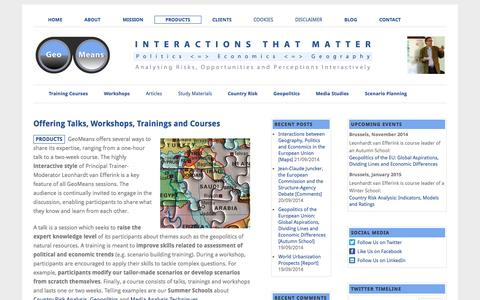Screenshot of Products Page geomeans.com - Offering Talks, Workshops, Trainings and Courses - captured Sept. 29, 2014