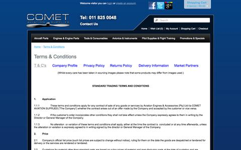 Screenshot of Terms Page cometaviationsupplies.co.za - Terms & Conditions - captured Sept. 19, 2014
