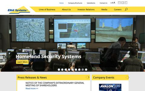 Screenshot of Home Page elbitsystems.com - Elbit Systems - International Defense Electronics Company - captured March 5, 2019