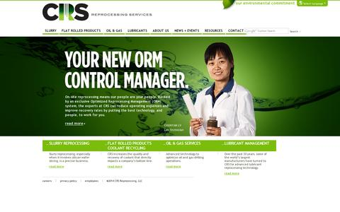 Screenshot of Home Page crs-reprocessing.com - Fluid Reprocessing | On-Site Management | CRS Reprocessing - captured July 11, 2014