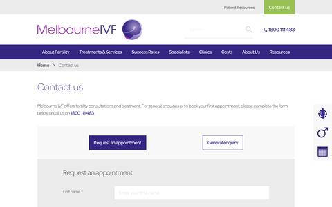 Screenshot of Contact Page mivf.com.au - Contact us | Melbourne IVF - captured Nov. 22, 2019
