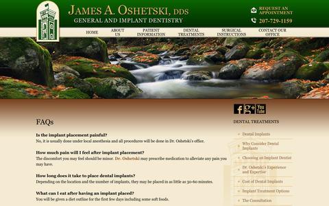 Screenshot of FAQ Page droshetski.com - Frequently Asked Questions, Cosmetic Dentistry Brunswick ME James A. Oshetski, DDS, LLC - captured Oct. 6, 2014