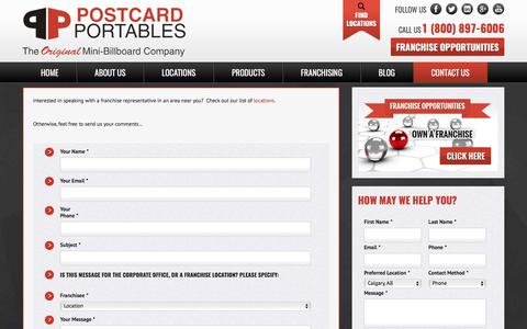 Screenshot of Contact Page postcardportables.com - Postcard Portables | Contact Us - captured Aug. 17, 2017