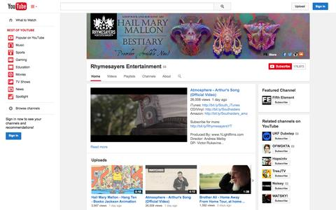 Screenshot of YouTube Page youtube.com - Rhymesayers Entertainment  - YouTube - captured Nov. 2, 2014