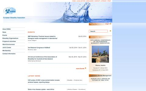Screenshot of Home Page ebsaweb.eu - EBSA -   		European Biosafety Association - captured Oct. 1, 2014