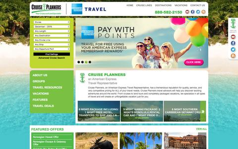 Screenshot of Home Page cruiseplanners.com - Cruise, Airline, Hotel, Land Tour, and vacation Travel Agent Deals - captured Dec. 4, 2015