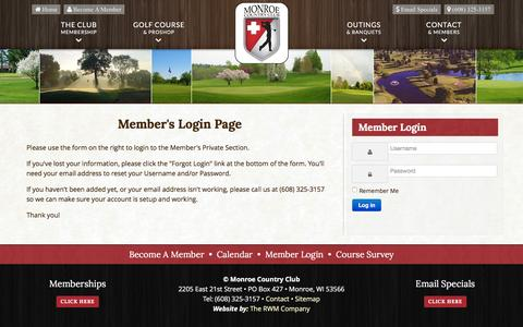 Screenshot of Login Page monroecountryclub.com - Monroe Country Club | Private Golf Course | Monroe, WI - Member Login - captured June 13, 2016