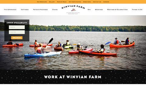 Screenshot of Jobs Page winvian.com - Work at Winvian Farm | Litchfield, CT Hotel | Winvian Farm - captured Sept. 21, 2018