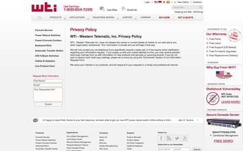 Screenshot of Privacy Page wti.com - WTI Privacy Policy Statement - captured Oct. 26, 2014