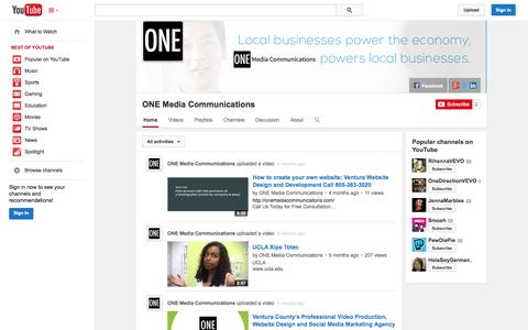 Screenshot of YouTube Page youtube.com - ONE Media Communications  - YouTube - captured Oct. 29, 2014