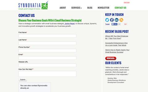 Screenshot of Contact Page synnovatia.com - Contact Us to Supercharge Your Business Growth | Synnovatia - captured Jan. 22, 2016