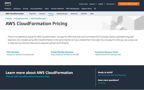 Screenshot of Pricing Page amazon.com - AWS CloudFormation Pricing - captured May 8, 2019