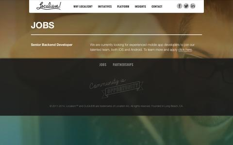 Screenshot of Jobs Page localism.co - Jobs - captured Sept. 30, 2014