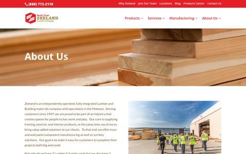Screenshot of About Page zeelandlumber.com - About Us - Zeeland Lumber & Supply - captured July 21, 2018